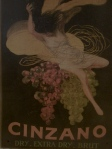 art deco poster, cinzano, dry, extra dry