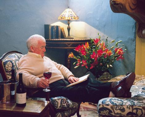 Len Evans, relaxing, wine, reading