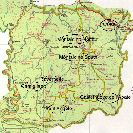 sub regional map, tuscany, brunello, montalcino, wine regions