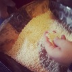Feeling the almost wet rice after being gently pounded - at Ferron, Pila Vecia
