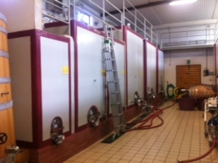 The winery at Mastrojanni filled with cement tanks