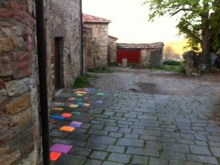 The coloured tiled artwork at Castello di Ama